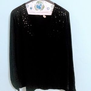 Black blouse w leather sequin detail at shoulders